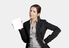 Holding a cardboard Royalty Free Stock Images