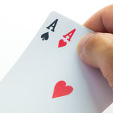 Holding cards Royalty Free Stock Photos