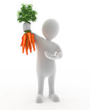 Holding Carrots. 3D character that is Holding Carrots Royalty Free Stock Photography