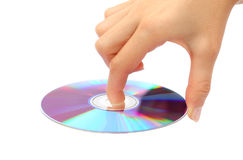 Holding the CD DVD stock images