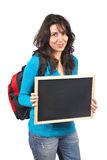 Holding the chalkboard Royalty Free Stock Photo
