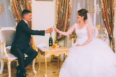 Holding champagne glasses Royalty Free Stock Photography