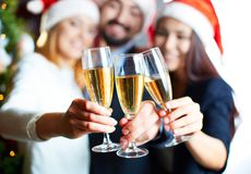 Holding champagne Royalty Free Stock Photo