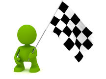 Holding a Chequered Flag. Illustration of a man holding a chequered flag.  Part of my cute green man series Royalty Free Stock Images