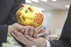 Holding Chinese Gold Piggy Bank Royalty Free Stock Images