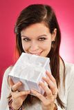 Holding christmas gift Royalty Free Stock Photography