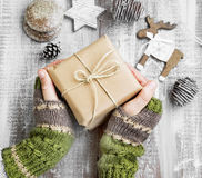 Holding Christmas Gift Vintage Packed Stock Photography