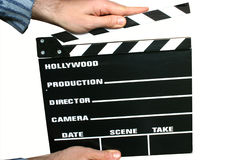 Holding a clapboard. Ready for action Royalty Free Stock Images