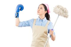 Holding cleaning swab and lifted arm Stock Image