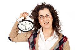 Holding a clock Stock Image