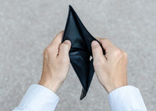 Holding a closeup to an empty wallet Royalty Free Stock Photography