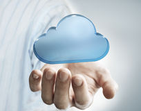 Holding a cloud. A cloud represent networking connection Royalty Free Stock Image