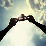 Holding cloud shape in sky. Mean technology world Royalty Free Stock Photography