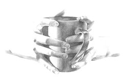 Holding coffee mug cup in hands illustration Royalty Free Stock Photography