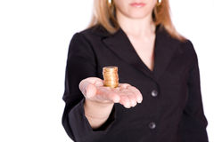 Holding coins Royalty Free Stock Photos