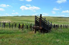 Holding Corral and Livestock Loading Ramp Stock Image