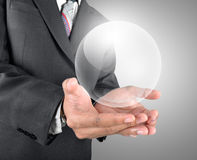 Holding crystal ball template Stock Images