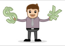 Holding Currency Symbol - Office and Business People Cartoon Character Vector Illustration Concept Stock Image