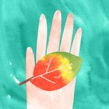 Holding cute leaf in hand watercolor stock illustration