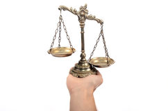 Holding Decorative Scales of Justice. Stock Photos