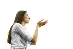 Holding della donna qualcosa Immagine Stock Libera da Diritti