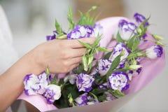 Holding der Frau Handvon Blumen Lizenzfreies Stockbild