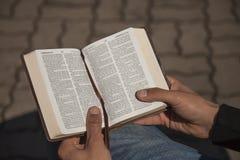 Holding des jungen Mannes und Leseheilige Bibel Stockfoto