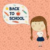 Holding des kleinen Mädchens sagen zurück zu Schule Stockfoto