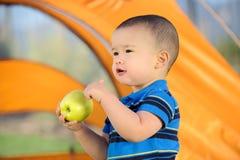 Holding di campeggio Apple del bambino Fotografia Stock