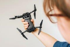 Holding DJI Mavic Air drone Royalty Free Stock Photo