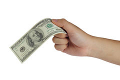 Holding 100 Dollar Bill. Image of a hand holding 100 Dollar bill isolated on white royalty free stock photography