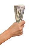 Holding A Dollar Bills Royalty Free Stock Image