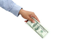 Holding dollar Royalty Free Stock Image