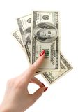 Holding dollars Royalty Free Stock Photo