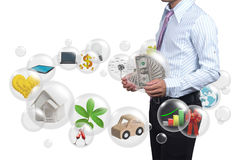 Holding a dollars in the ball. Stock Photography