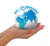 Holding a earth. Concept photography -- world in hand and global internet and  business Stock Images