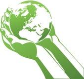 Holding Earth vector illustration