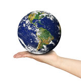Holding Earth Outstretched Open Hand Arm Isolated Royalty Free Stock Photography