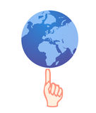 Holding the earth on your finger. Vector illustration of a hand holding the earth globe on the index finger Royalty Free Stock Photos