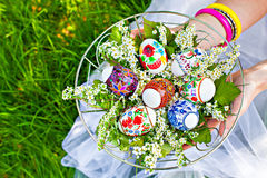 Holding easter basket Stock Photo