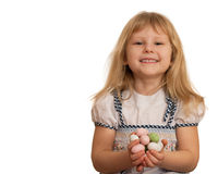 Holding Easter eggs laughing girl Stock Images