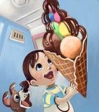Holding-Eiscreme des kleinen Mädchens Stockbilder
