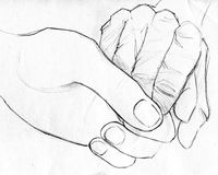 Holding elderly hand - pencil sketch. Hand drawn pencil sketch of two hands - one young and one old - holding. Symbol of help, compassion and love Royalty Free Stock Photos
