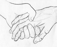 Holding elderly hand - pencil sketch. Hand drawn pencil sketch of two hands - one young and one old - holding. Symbol of help, compassion and love Royalty Free Stock Image