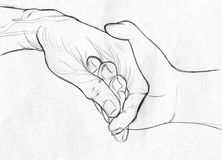 Holding elderly hand - pencil sketch vector illustration