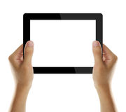 Holding Electronic Tablet PC In Hands Royalty Free Stock Photography