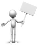 Holding empty banner. A 3d figure holding a board for your custom text message, white figure with white board Stock Images