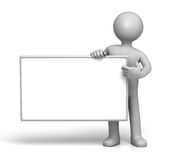 Holding empty Sign board. 3D Character holding empty Sign board  (with Clipping Path Royalty Free Stock Image