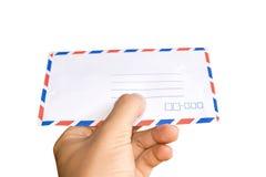 Holding envelope letter isolate on white background Stock Image