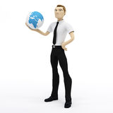 Holding-Erdekugel des Geschäftsmannes 3D auf seiner Hand Lizenzfreie Stockfotos